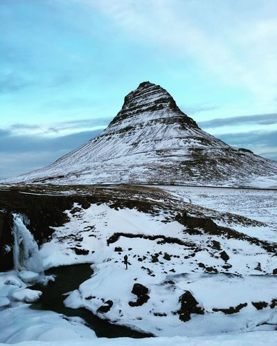 Iceland Mountains Kirkjufell Waterfall Nature Winter