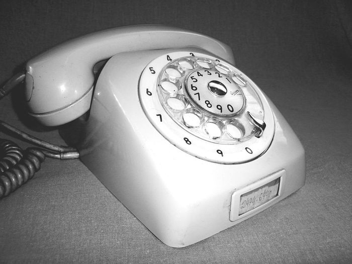 Telephone Old-fashioned Retro Styled Connection Communication Rotary Phone Landline Phone Telephone Receiver Number Indoors  Table Still Life Technology High Angle View No People Single Object Close-up Antique IT Support Day Rethink Things Black And White Friday