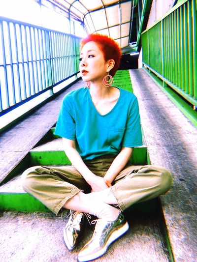 itsme Model Buzzcut Orange Color One Person Sitting Real People Hairstyle