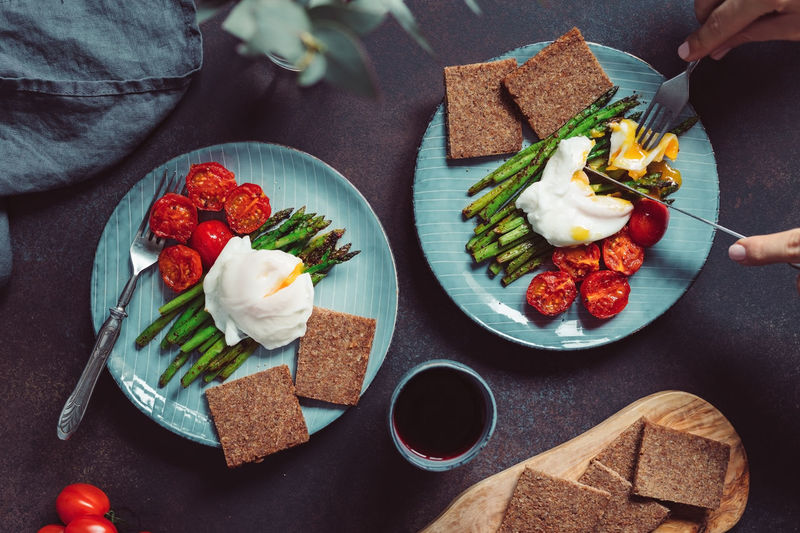 Food Food And Drink Freshness Healthy Eating Ready-to-eat Bread Wellbeing Plate Fruit Table Vegetable Meal Tomato Indoors  High Angle View One Person Real People Sandwich Human Body Part Breakfast Snack The Foodie - 2019 EyeEm Awards