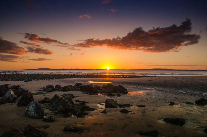 Ocean Sea Water Peaceful Sunset Sun Sunshine Setting Sun Dusk