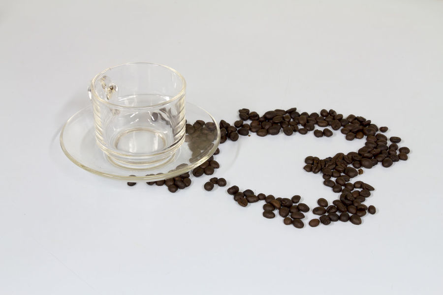 Coffe Beans Coffe Cup Coffee Cup Food And Drink Heart Love Love ♥ Studio Shot Valentine White Background