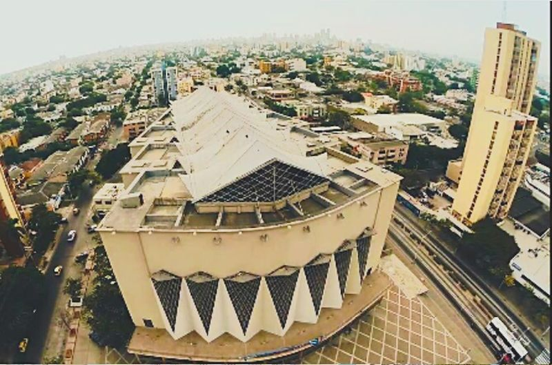 Aerial Shot Catedral Busstation Colombia Barranquilla