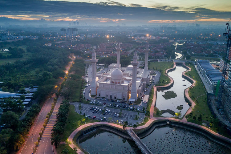 Aerial View of a Mosque at sunrise/dawn Aerial Aerial Photography Aerial Shot Aerial View Architecture Dome Eid House Of Worship Islam Islamic Architecture Malaysia Masjid Minaret Mosque Mosques Place Of Worship Ramadan  Religion, Church, Sect, Denomination, Belief, Ideology, Creed, Teaching, Doctrine, Moslem, Islam, Sunrise