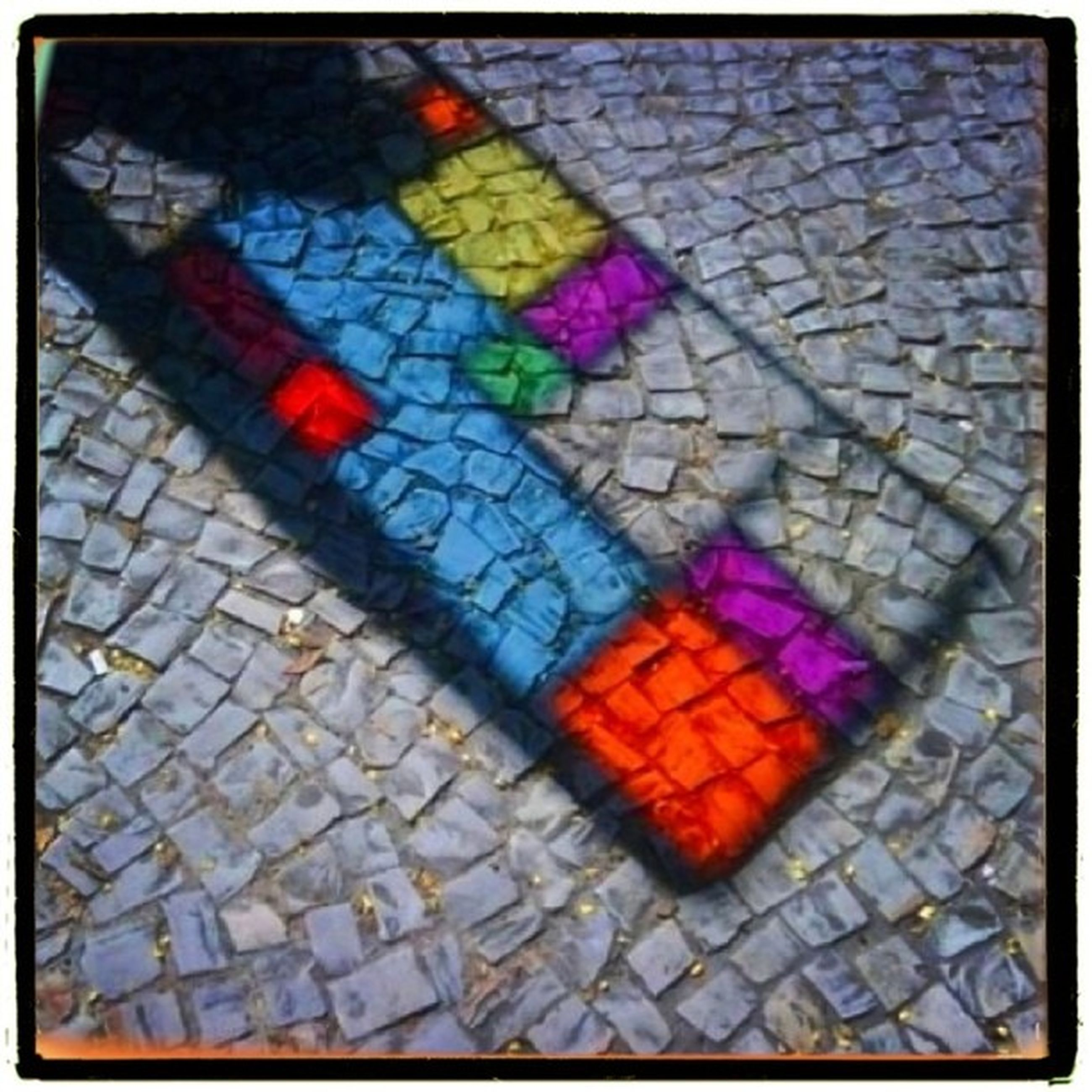 cobblestone, paving stone, transfer print, street, auto post production filter, footpath, sidewalk, pattern, high angle view, tiled floor, pavement, multi colored, tile, full frame, outdoors, day, no people, autumn, flooring, textured