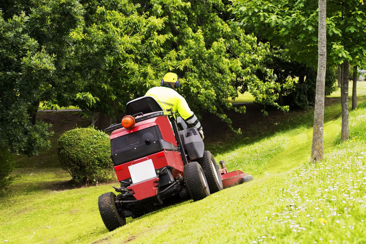 sewer line drainage by professional workers with hose and pressurized water of service truck Mower Lawnmower Gardener Grass Mover Lawn Service Utility Backyard Golf Summer Spring Work Equipment Vehicle Care Cut Electric Home Machine Gardening Transportation