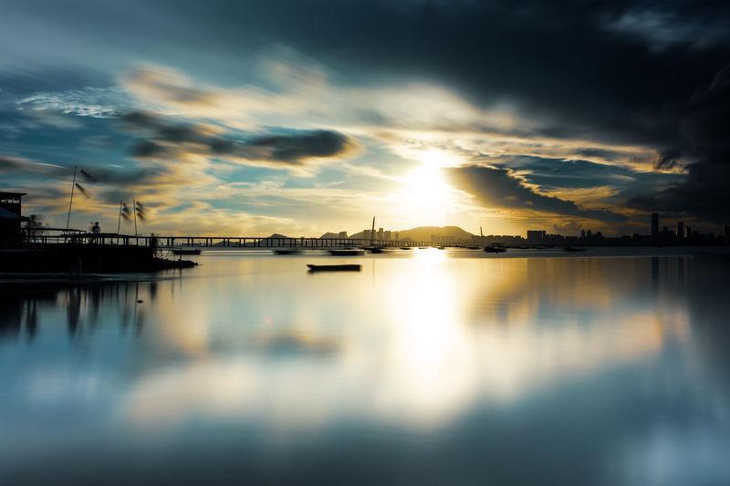 Water Sea Sunset Nautical Vessel Reflection Harbor Dusk Dramatic Sky Sky Horizon Over Water