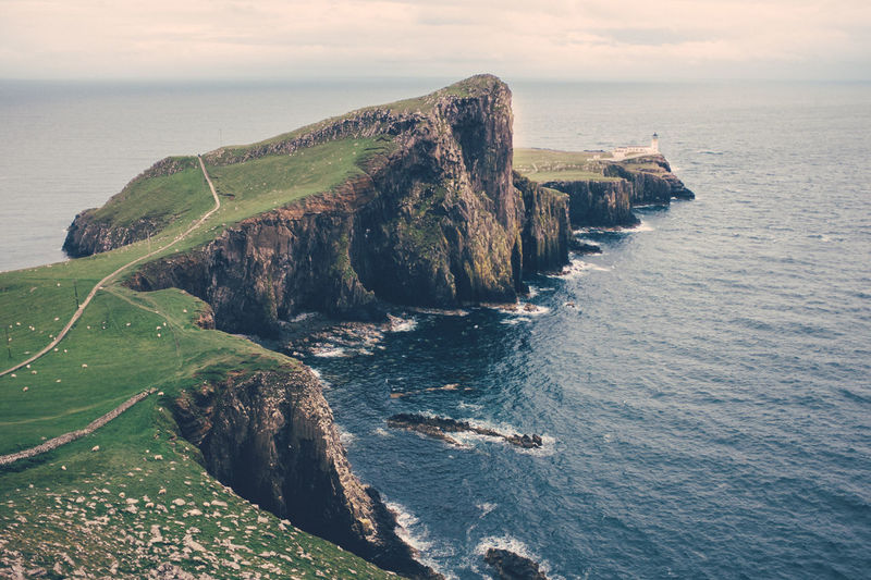 Beauty In Nature Cliff Day Grass High Angle View Horizon Over Water Nature No People Outdoors Physical Geography Rock - Object Rock Formation Scenics Sea Sky Tranquil Scene Tranquility Water