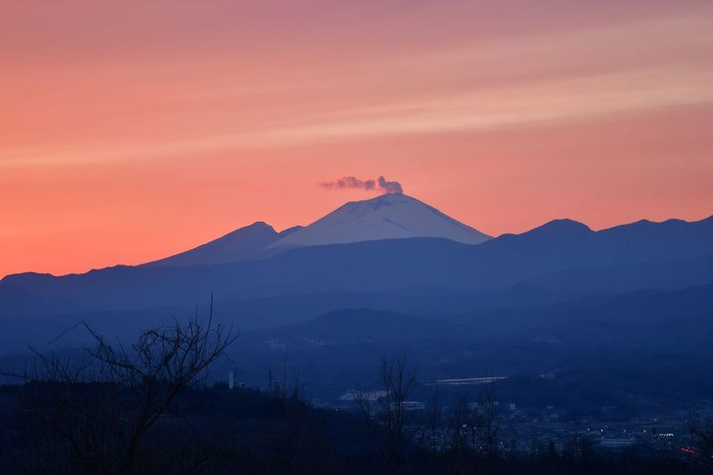 Mountain Sky Sunset Beauty In Nature Scenics - Nature Landscape Volcano Silhouette Mountain Peak Nature Outdoors Land No People