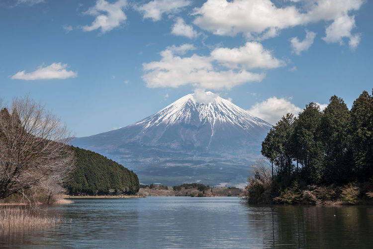 Beautiful Mount Fuji in the distance Cloudscape Fuji Mountain J Japan Photography Mount FuJi Beauty In Nature Cloud - Sky Day Idyllic Lake Mountain Mountain Peak Nature No People Outdoors Scenics - Nature Sky Snowcapped Mountain Tranquil Scene Tranquility Tree Volcano Water Waterfront