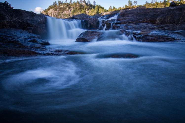 Awe Beauty In Nature Blurred Motion Day Flowing Water Freshness Landscape Long Exposure Motion Nature No People Norway Outdoors Rapid River Scenics Sky Stream - Flowing Water Tourism Travel Destinations Vacations Water Waterfall Waterfalls