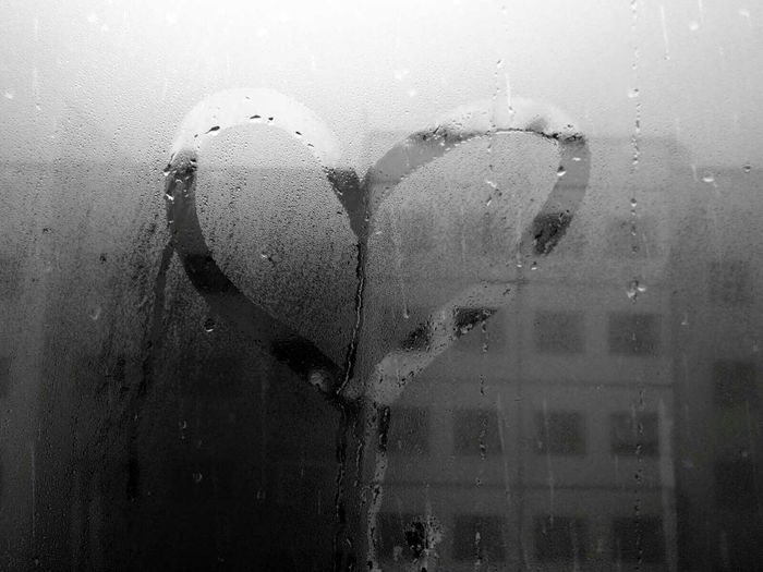 Because Pluviophile❤☔❤ Rain Raining Blackandwhite Monochrome CameraFV5 Snapseed Shootermag Mobilephotography Having Fun Love Valentine Valentine's Day  Dropplets Wet Window Love is in the air Heart Art Dripping Dripping Water Water Nature Minimalart Minimal