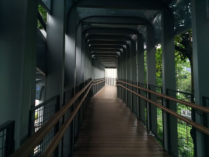 Empty footbridge in building