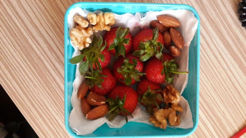 Today's Lunch Healthy Strawberry Almond Walnut On Diet Nofilter