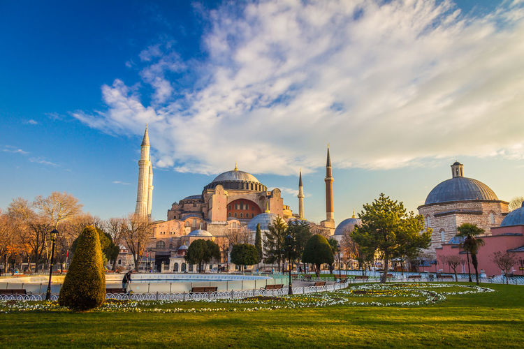 Hagia Sophia Church in Istanbul Turkey Istanbul Istanbul Turkey Istanbul City Hagia Sophia Hagiasophia  Architecture Built Structure Sky Building Exterior Dome Cloud - Sky Religion Plant Tourism Travel Destinations Travel Grass Belief Place Of Worship Nature History Tree Building No People Outdoors