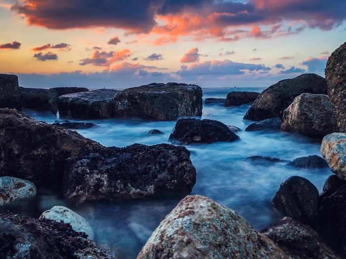 Water Sea Rock Rock - Object Solid Sky Scenics - Nature Beach Horizon Over Water Land Tranquility Tranquil Scene Beauty In Nature Cloud - Sky Sunset