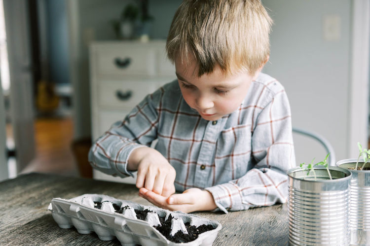 Boy looking at camera on table