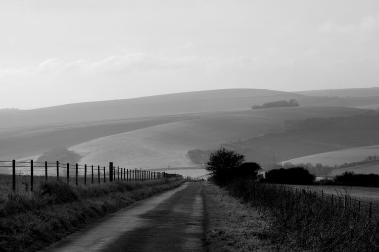 The Road Over The Downs Landscape Sky Tranquil Scene Environment Scenics - Nature Tranquility Beauty In Nature Road The Way Forward Nature Direction Field Rural Scene Outdoors South Downs South Downs National Park Blackandwhite Black And White