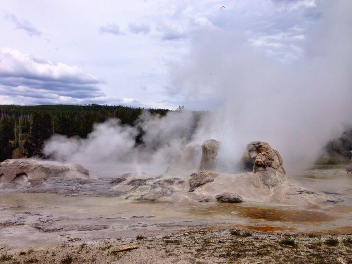 Steam Coming Out From Geyser At Yellowstone National Park