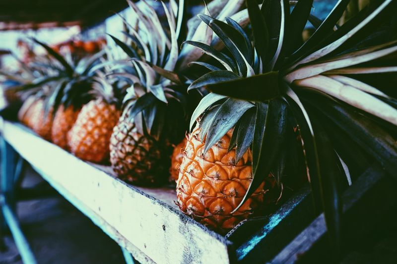 Fruit Food And Drink Food Healthy Eating Close-up No People Freshness Plant Wellbeing Growth Pineapple Day Tropical Fruit Nature Leaf Plant Part Focus On Foreground Outdoors Beauty In Nature Agriculture