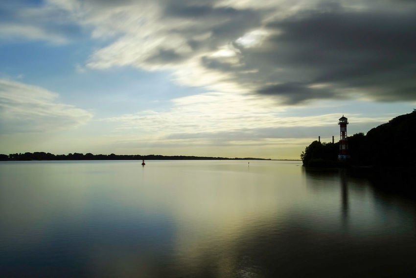 Reflection Cloud - Sky Silhouette Water Sunset Sky Tranquility Nature Lake Outdoors No People Scenics Beauty In Nature Tree Day Elbe River Elbe River Lighthouse