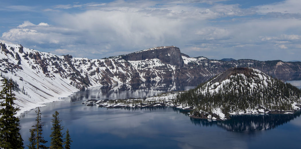 Water Sky Scenics - Nature Beauty In Nature Cloud - Sky Mountain Tranquil Scene Reflection Nature Lake Cold Temperature Tranquility Waterfront Environment No People Winter Idyllic Day Outdoors Snowcapped Mountain Iceberg Crater Lake Crater Lake National Park