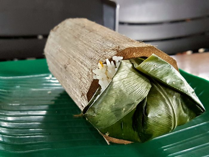 Wrapped Up Steamed Rice Bamboo Plate Food Healthy Eating Freshness Ready-to-eat Cooking Menu Still Life Close-up Plate