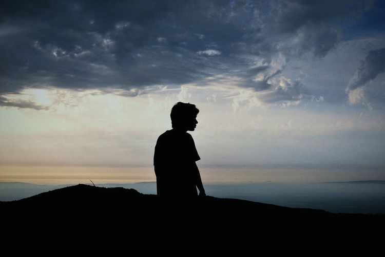 Silhouette Of Of Boy On Landscape
