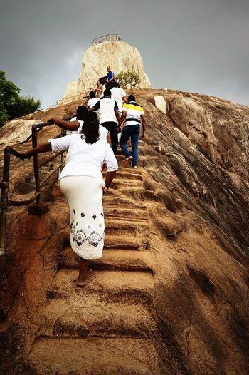 Sri Lanka Anuradhapura Mihintale Mountain Peak Buddhism Sacred Place People Climbing