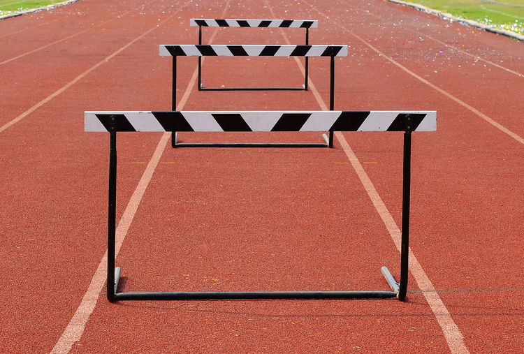 Hurdles on running track