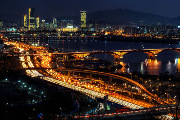 night view over han river with seongsan bridge Bridge Building Busy Busy Day Busylife Cars City Han River Highway Highways&Freeways Korea Light Trails Long Exposure Night Night Lights Night Photography Night View River Road Seoul Traffic Traffic Lights Transportation Yeouido