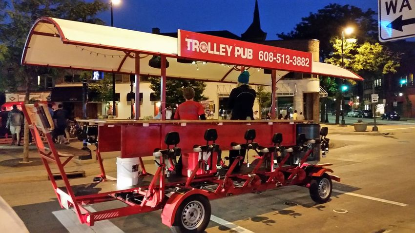 Trolley Pub Drink And Drive Peddle To Move State street, Madison WI