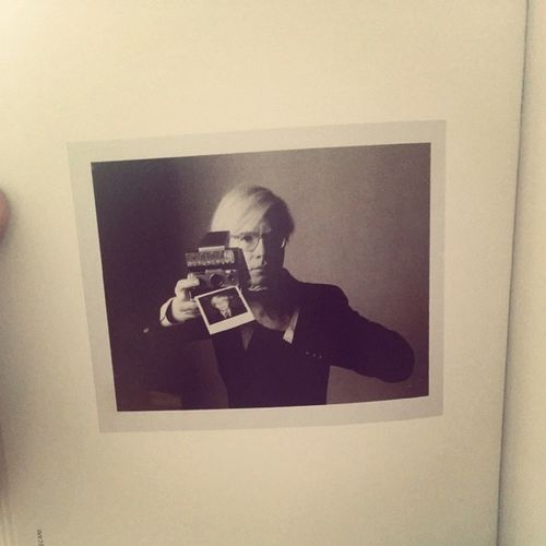 A photo of a Polaroid of Andy Warhol taking a Polaroid. Camception Andywarhol MyGod Thepolaroidbook finalsweek