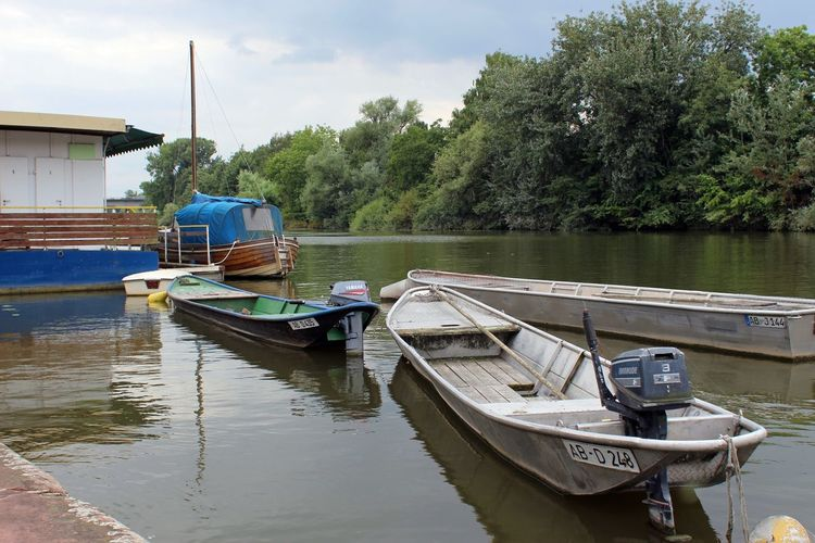 Boats Moored On River