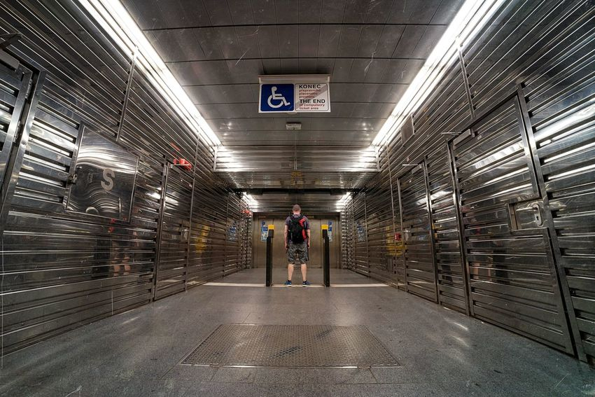 Boxed In | Silver  Shiny Boxed The Architect - 2016 EyeEm Awards Prague Lines Patterns Entrance Lone Person Enclosed Encased Trapped Shine Metal Metro Metallic The Street Photographer - 2016 EyeEm Awards People And Places