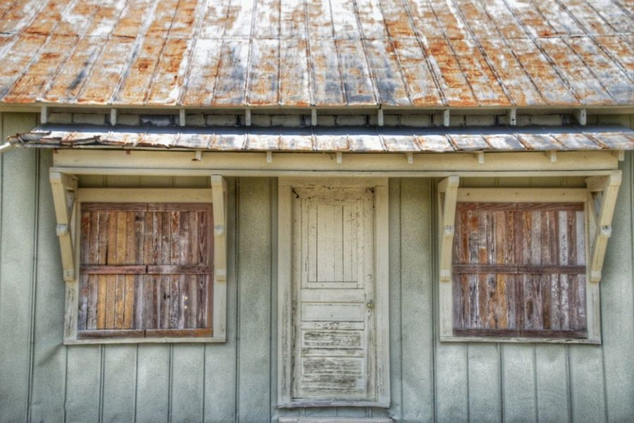 Old building Architecture Wood - Material Building Exterior Built Structure Outdoors No People Roof Day Close-up South Lousiana Metalroof Texture South Louisianad Door Windows Pattern, Texture, Shape And Form Full Frame Copy Space Full Frame Shot Weathered Aged Beauty