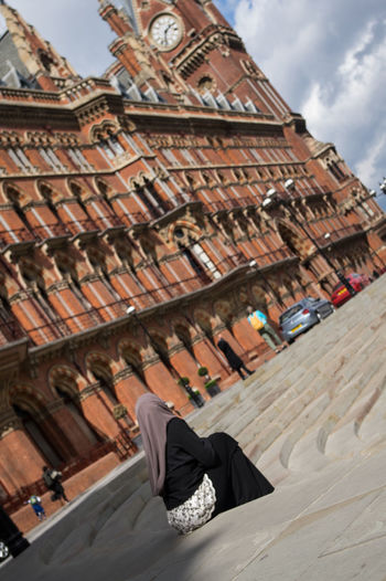 EyeEm LOST IN London St Pancras Renaissance Hotel St Pancras Station St. Pancras Architecture Day One Person One Woman Only Outdoors People Sky Veiled Woman