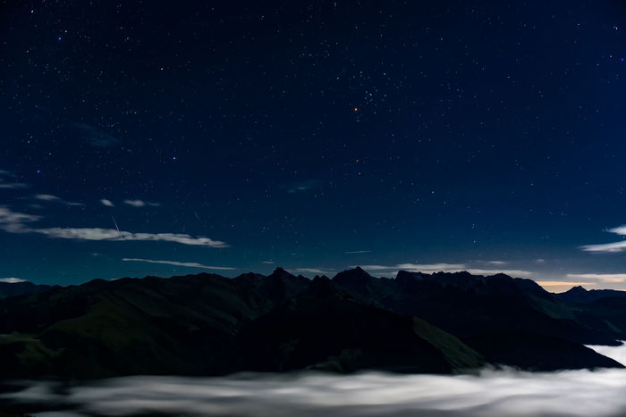 The Perseus meteor shower in Sichuan province,China. Meteor Nature Sea Of clouds Sichuan Sichuan Province China Clouds Landscape Meteor Shower Mountain Night Outdoors Perseus Star Stars
