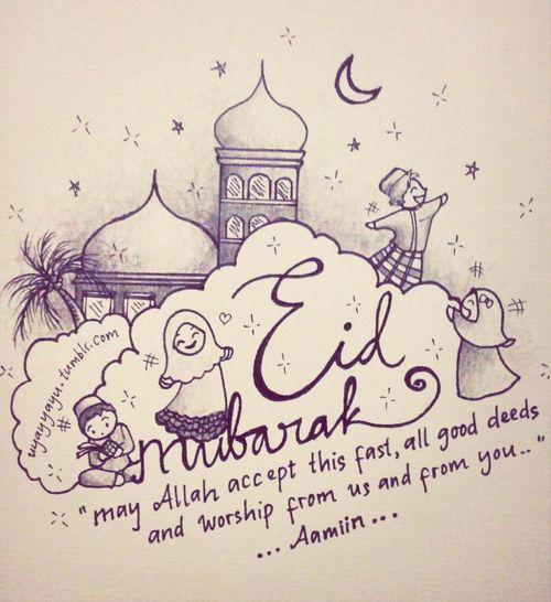 Eid mubarak! Eid Happy Eid Doodle Sketch