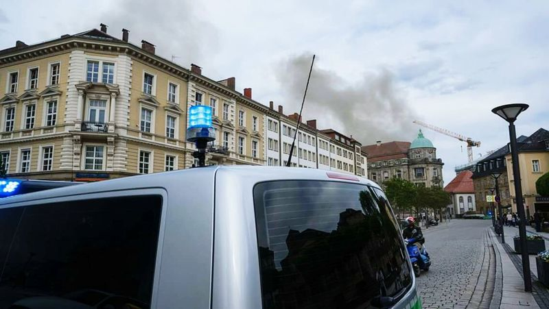Cloud - Sky Architecture Politics And Government Building Exterior City Outdoors Sky Day Cityscape People Fire Smoke - Physical Structure Bayreuth City Police Car Bluelight