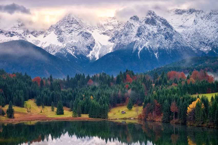 Perspectives On Nature Beauty In Nature Cold Temperature Day Lake Landscape Majestic Mountain Mountain Range Nature No People Outdoors Peak Range Reflection Scenics Sky Snow Snowcapped Mountain Tranquil Scene Tranquility Tree Water Waterfront Winter