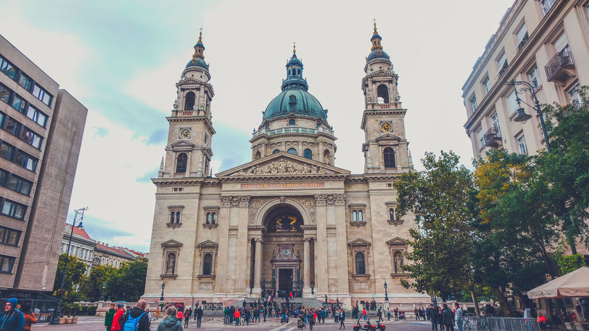 St. Stephan's Basilica in Budapest, Hungary Architecture Basilica Budapest Budapest Streetphotography Budapest, Hungary Church City Hungary Square St.Stephen's Basilica Building Exterior City Dome Group Of People Outdoors Place Of Worship Religion Religious  Religious Architecture Travel Destinations