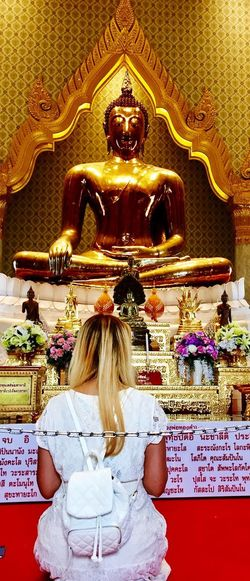 Faith Golden Buddha Religion Spirituality Indoors  One Person Place Of Worship Blond Hair Day