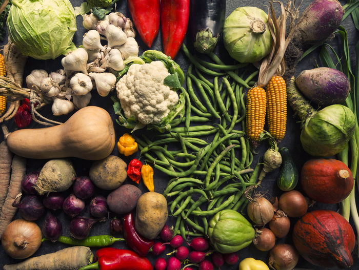 High angle view of vegetables
