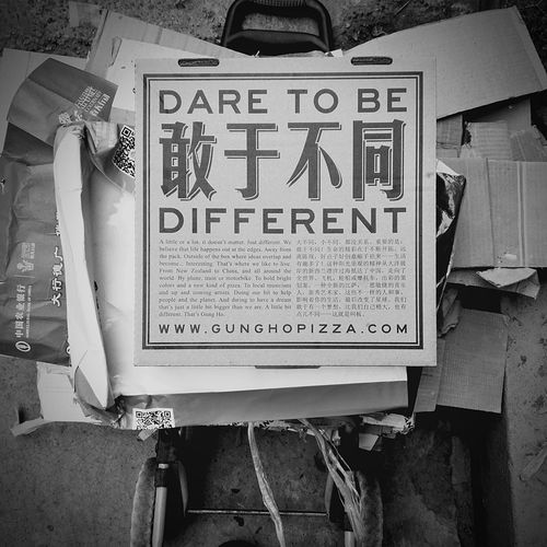 TakeoverContrast Dare to be different, a phrase which is heard mostly from the rich, is seen on the cover of a junkman's collection pile. Despite its original use(as an ad), this is not only a big contrast, but a harmony of individuals and their dreams. Communication Memories Dream Poor And Rich