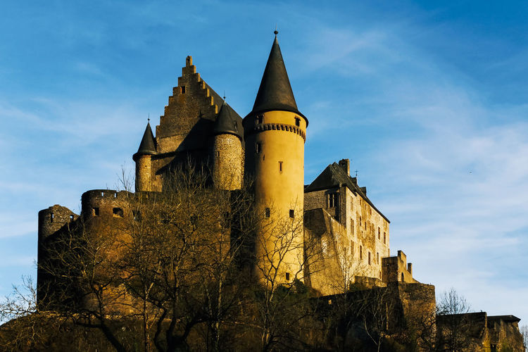 History Built Structure Architecture The Past Sky Building Exterior Building Castle Fort Low Angle View Medieval Old Nature Travel Destinations Ancient No People Travel Day Tourism Tower Outdoors Ancient Civilization Gothic Style Vianden Vianden Castle Luxembourg