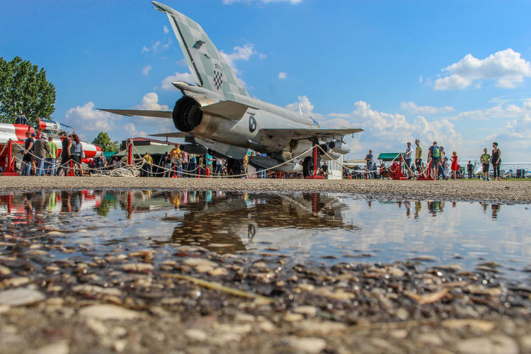plane reflection in water MiG 21 Mig 21 Bis Croatia Velika Gorica Airshow Air Vehicle Water Sky Jet Engine Airplane Military Airplane Fighter Plane Air Force Airplane Wing Engine
