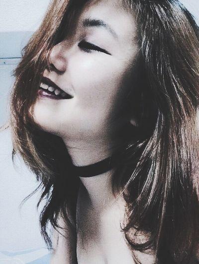 Asian Girl Choker Purple Lipstick Smile Hello World ✌️