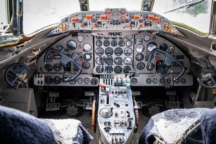 View of clock through airplane