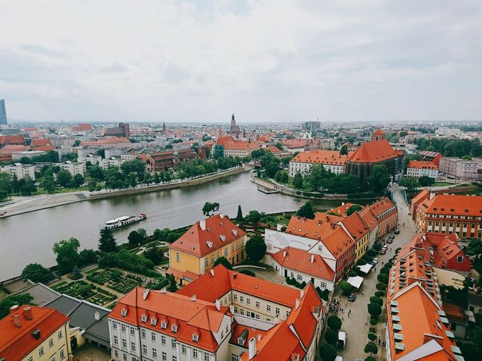 From The Tower Breslau Wloclaw Cityscape Old City Structure River And Ship Smartphonephotography St. Elizabeth's Church